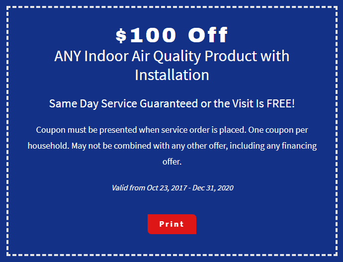 $100 off any indoor air quality product coupon