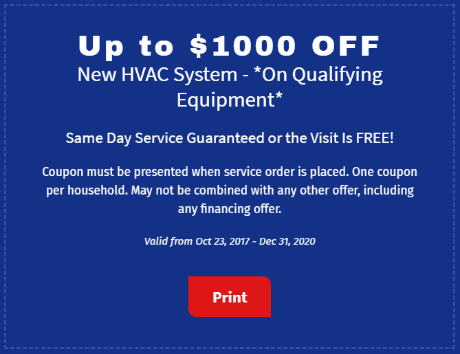 $1,000 Off New HVAC System Coupon